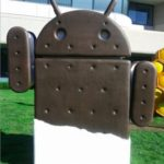 An ice cream sandwich in the shape of the Android robot