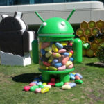 A jar in the shape of the Android robot filled with jelly beans