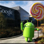 An Android robot holding an over-sized swirl lollipop