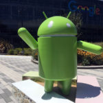 An Android robot standing on nougatbars